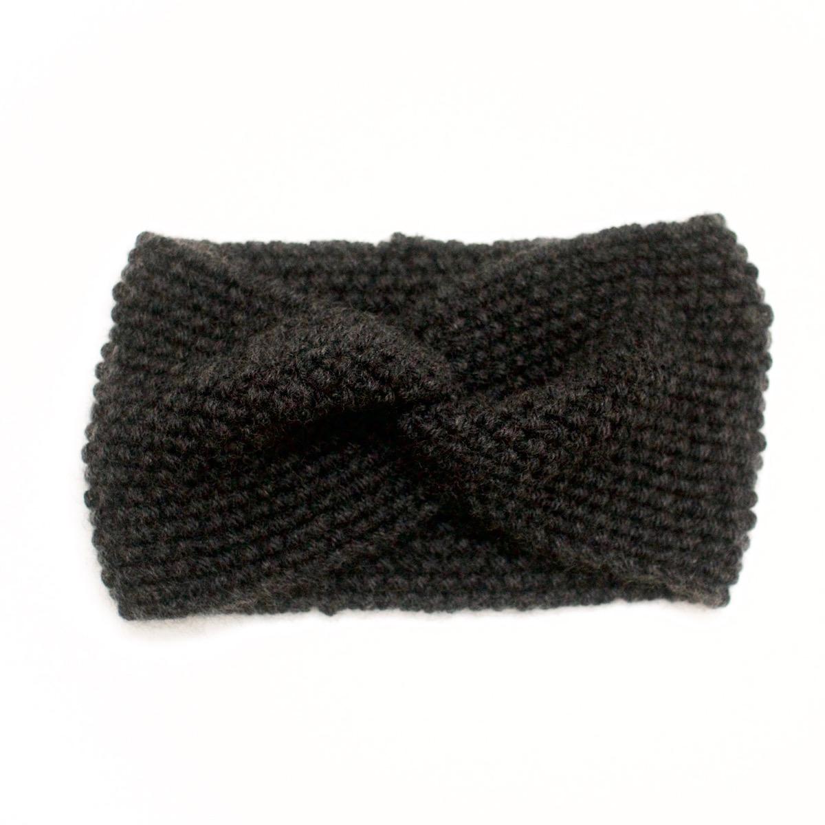 Fenêtre Bandeau Anthracite : Bandeau croisé tricoté en laine et cachemire anthracite